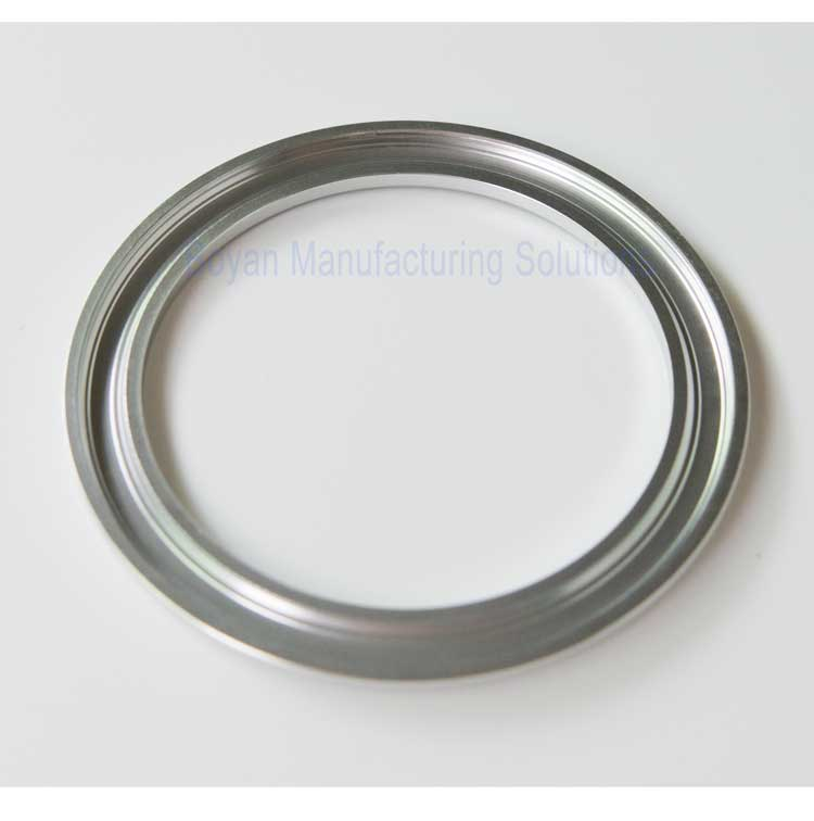 bottom view of aluminum clear anodized camera glass retaining ring