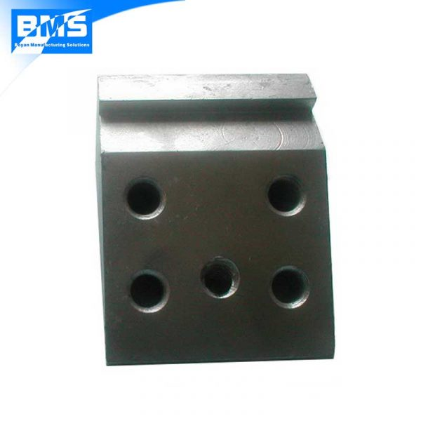 Front view of a steel Q345 machined and hot dip galvanized part