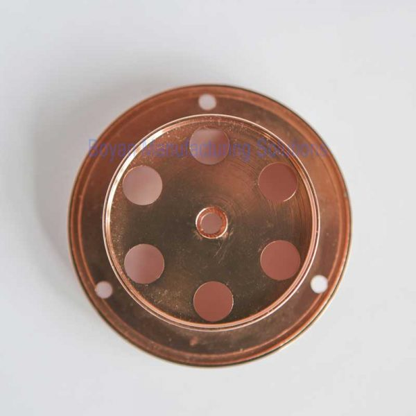 cnc turning part and copper plated bottom view