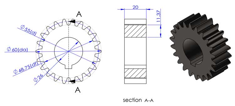 drawing for a nylon gear
