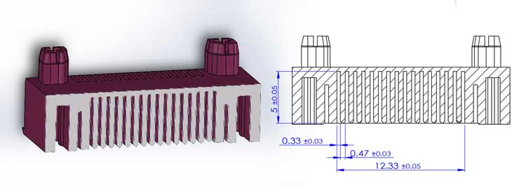 drawing for plastic housing of pin connector
