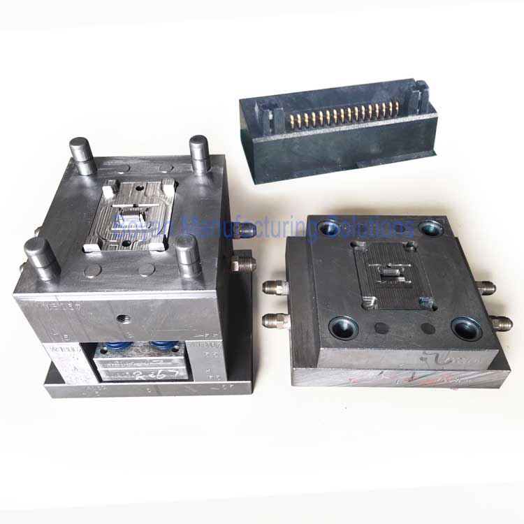 injection mold for plastic pin connector