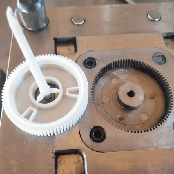 injection mold plastic helical gear close view