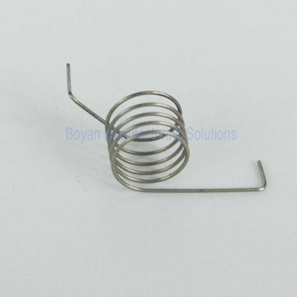 close view of a small torsion spring