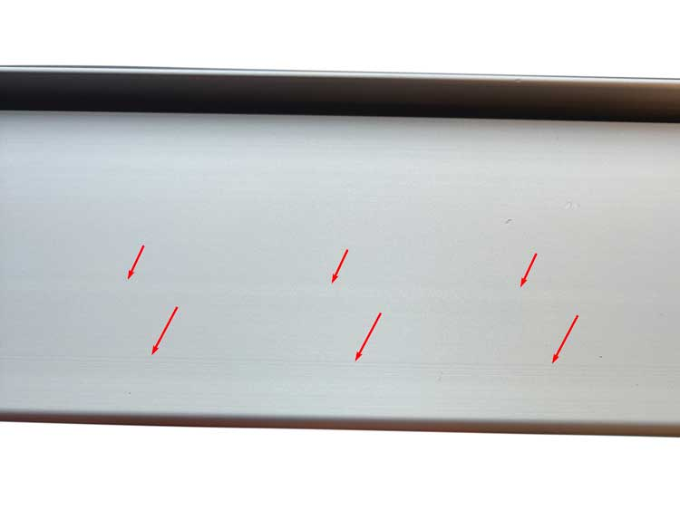 Mold marks on anodized aluminum extrusions