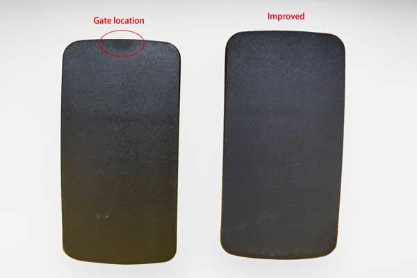 gate blush on a black nylon part