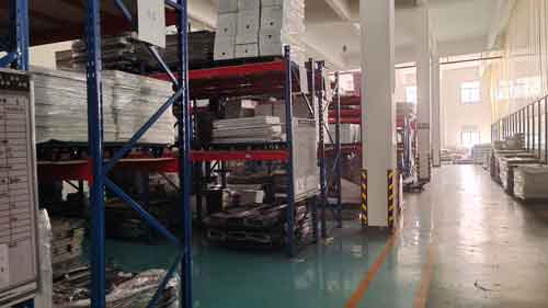 Warehouse area for sheet metal parts