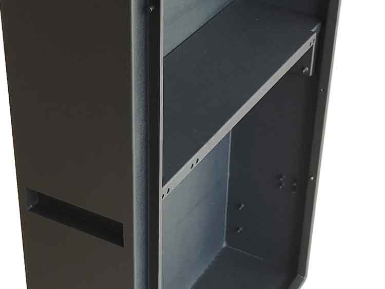 close-up view of a sheet metal cabinet