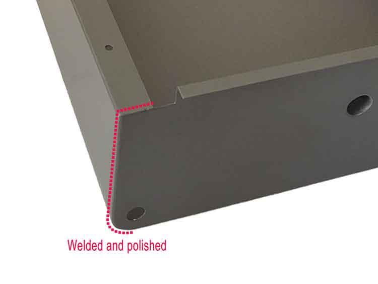 sheet metal drawer outside corner